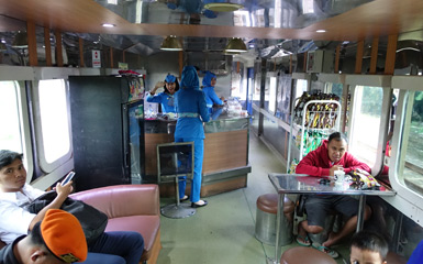 Buffet car on the train to Surabaya