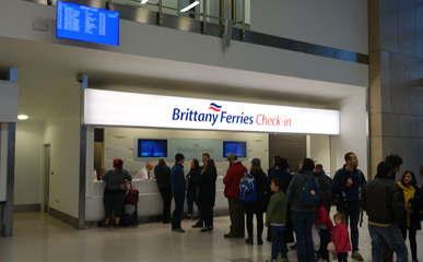 Brittany Ferries check in desk at Portsmouth