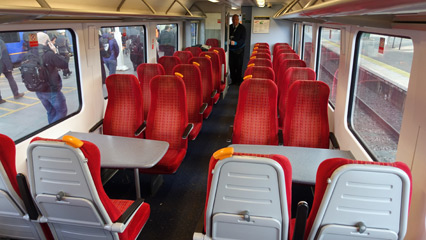 Standard class seats on train from London to Portsmouth