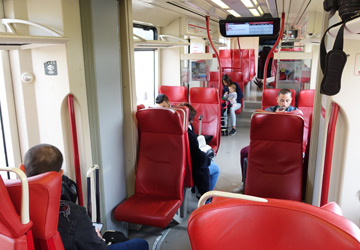 Inside the Rhone Express tram to St Exupery