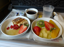 Complimentary food in first class on a Lyria TGV
