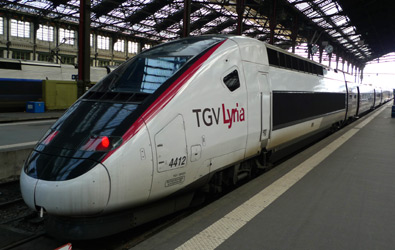 A TGV Lyria train about to leave Paris Gare de Lyon for Switzerland