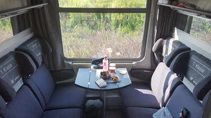 1st class compartment on Munich to Prague train
