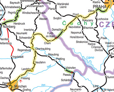 Munich to Prague train route map