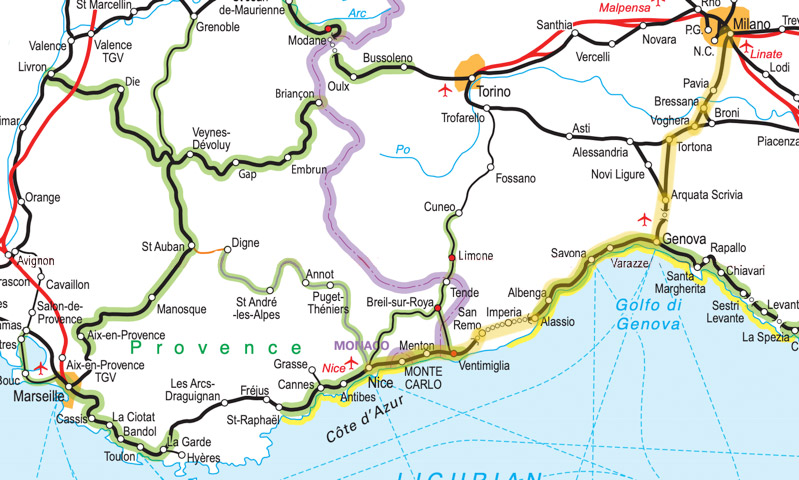 Map Of Italy Train Routes.Marseille Nice To Genoa Milan By Thello Day Train From 15