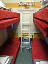 4-berth couchette compartment from Cologne to Vienna