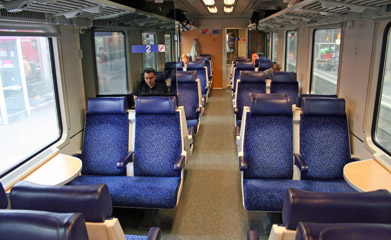 2nd class seats in an open-plan car