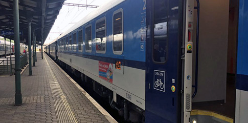 The Prague to Krakow train 'Cracovia' at Ostrava