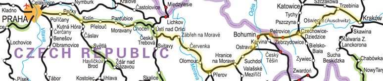 Prague to Krakow train route map