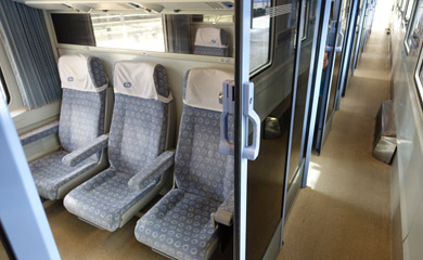 First class car on train from Prague to Linz
