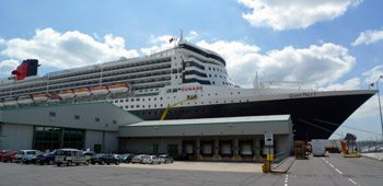 The QM2 at Southampton City Cruise Terminal