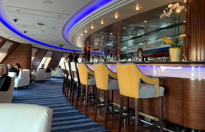 The QM2's Commodore Club on 9 deck forward.