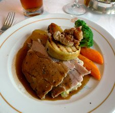 Roast pork dinner in the Britannia restaurant.
