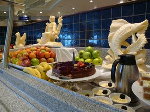Dessert display in the Queen Mary 2's King's Court restaurant
