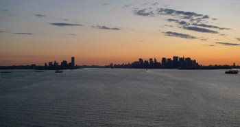 New York's manhattan skyline seen from the Queen Mary 2