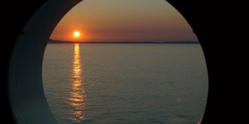 Sunset over the Isle of Wight:  The view from Stateroom 6029