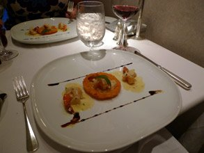 Prawn starter in the Todd English restaurant on the Queen Mary 2