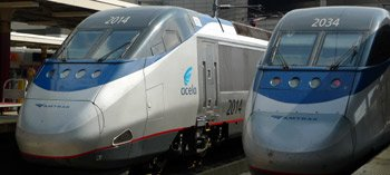 Amtrak Acela Express 150mph trains at Boston South station