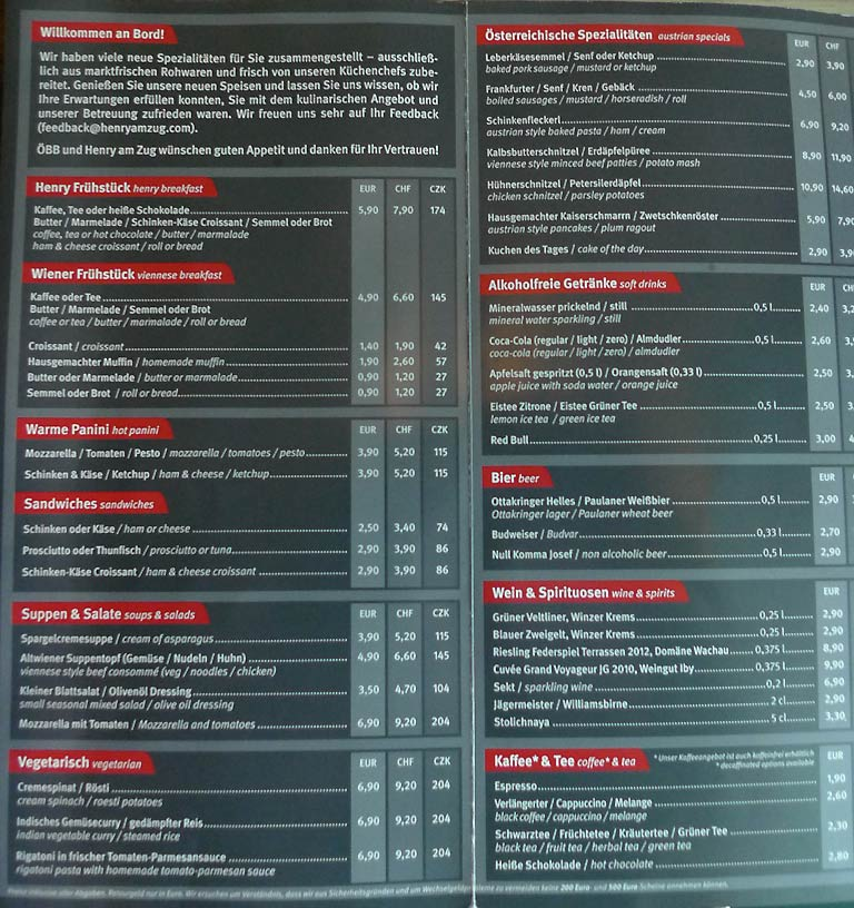 Railjet sample menu