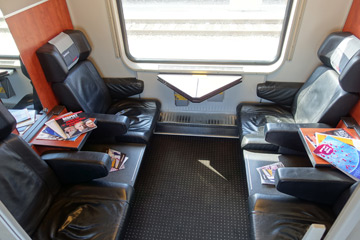 Business class on a RegioJet train from Vienna to Prague