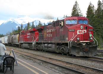 Freight passing Banff station