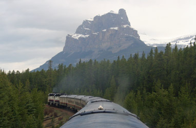 Castle Mountain seen from Rocky Mountaineer
