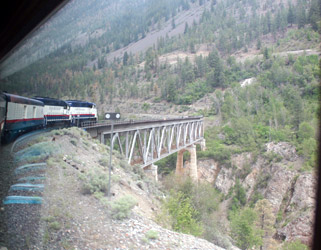 Rocky Mountaineer crosses the Fraser River