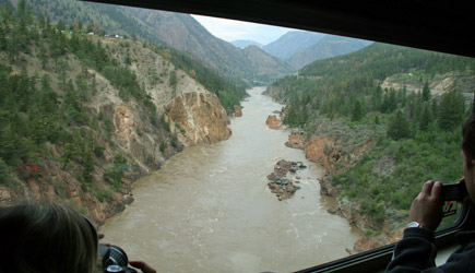 Rocky Mountaineer crossing the Fraser River