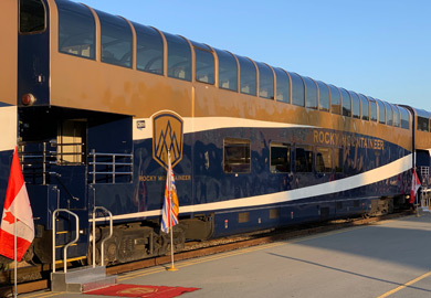 Rocky Mountaineer gold leaf dome car