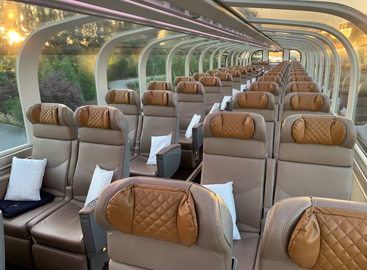 Seats in a Rocky Mountaineer gold leaf car