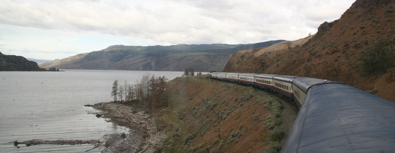Rocky Mountaineer runs along Kamloops Lake