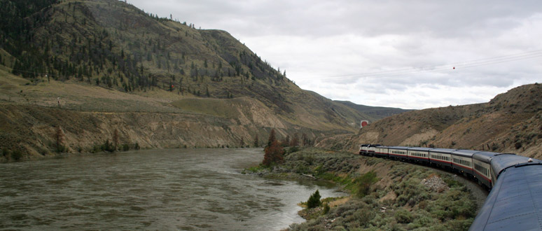 Rocky Mountaineer at the end of Kamloops Lake