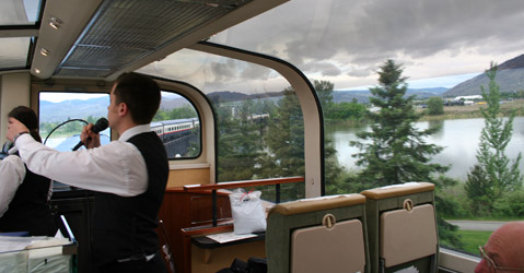Running commentary on board Rocky Mountaineer