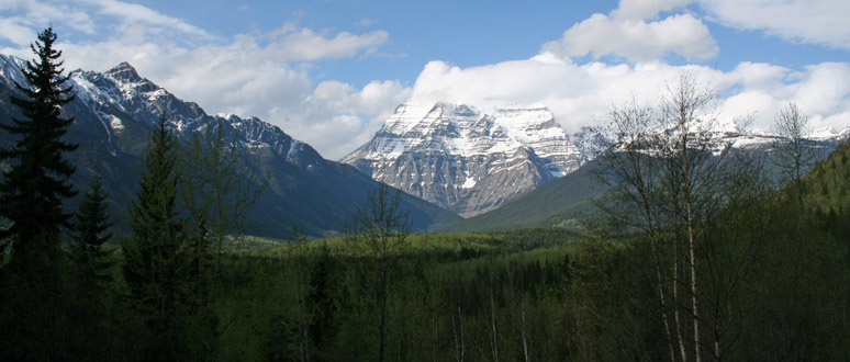 Mount Robson seen from the Rocky Mountaineer