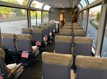 Inside a Rocky Mountaineer silver leaf car