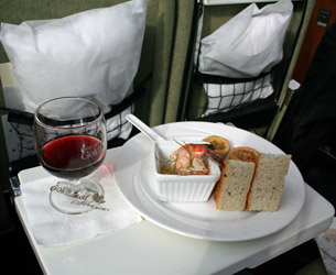 Rocky Mountaineer Gold Leaf snack & wine