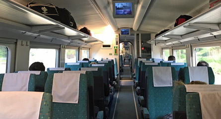 2nd class seats on the Sarajevo to Mostar train