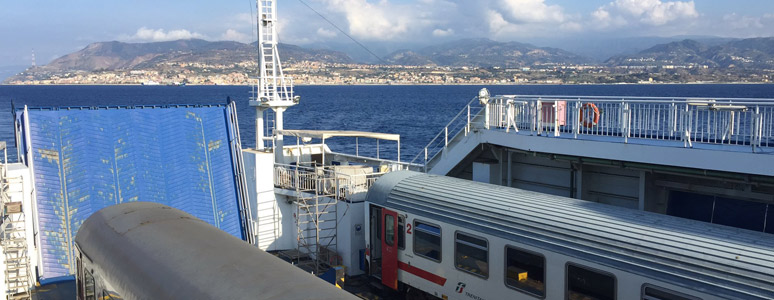 Intercity train to Sicily on board the ferry