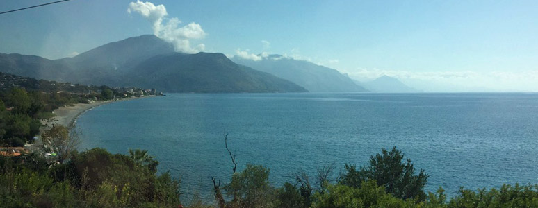 Scenery from the train to Sicily