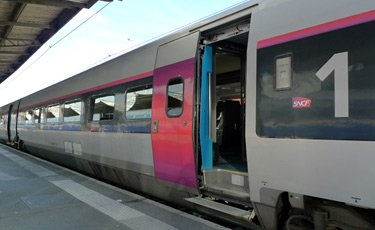 TGV car in latest livery