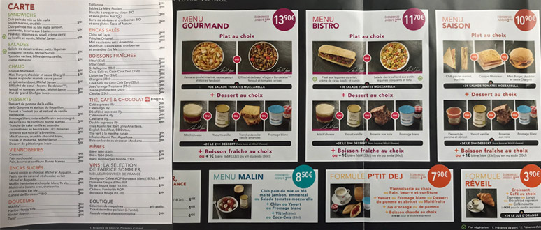 Typical TGV bar menu