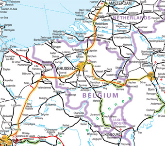 Paris-Brussels-Amsterdam/Cologne Thalys route map