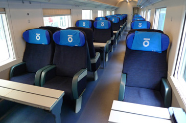 1st class seats on a Thello train from Nice to Milan