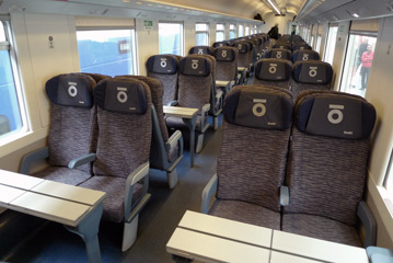 2nd class seats on a Thello train from Nice to Milan
