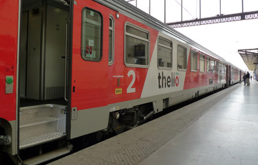 Thello train, showing entrance steps into the car