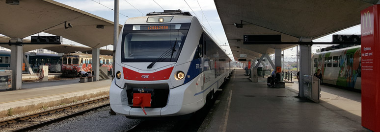The Trieste to Ljubljana train at Trieste Centrale