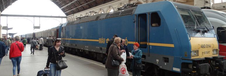 The EuroCity train Avala from Vienna to Budapest, at Budapest Keleti