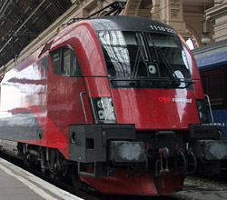 Railjet train from Prague to Vienna