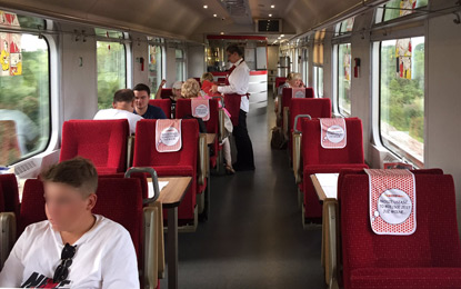 Restaurant car oin Vienna-Warsaw train